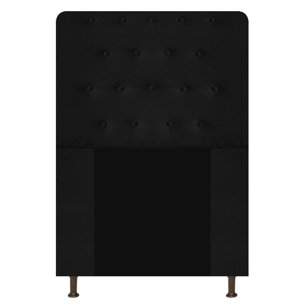 Cabeceira Estofada Brenda 90 cm Solteiro Com Botonê  Suede Preto - Doce Sonho Móveis