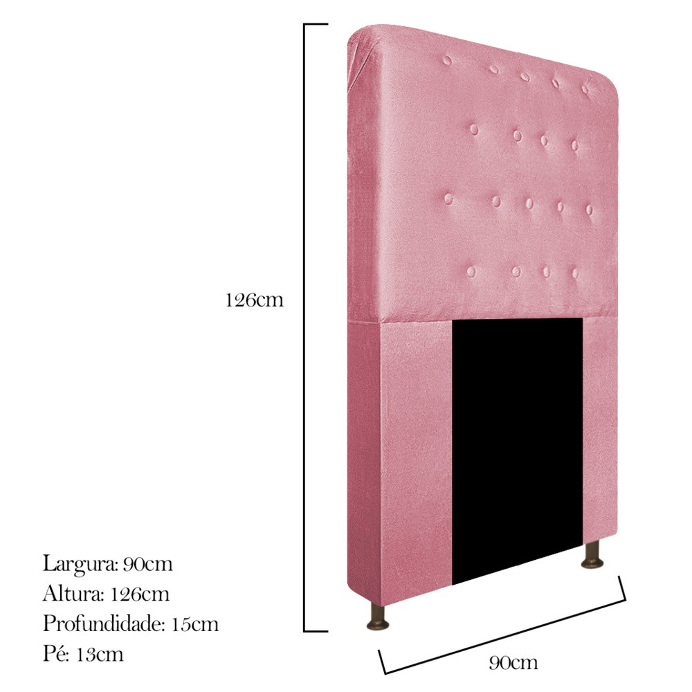Cabeceira Estofada Brenda 90 cm Solteiro Com Botonê  Suede Rosa Bebê - Doce Sonho Móveis