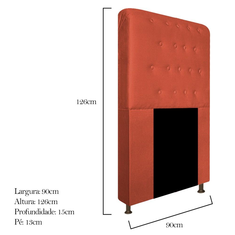 Cabeceira Estofada Brenda 90 cm Solteiro Com Botonê  Suede Terracota - Doce Sonho Móveis