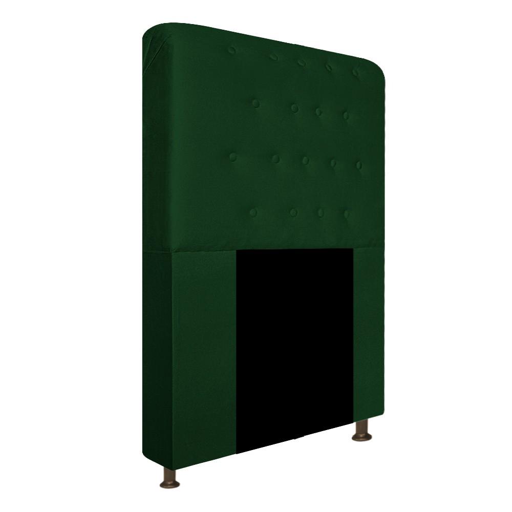 Cabeceira Estofada Brenda 90 cm Solteiro Com Botonê  Suede Verde - Doce Sonho Móveis