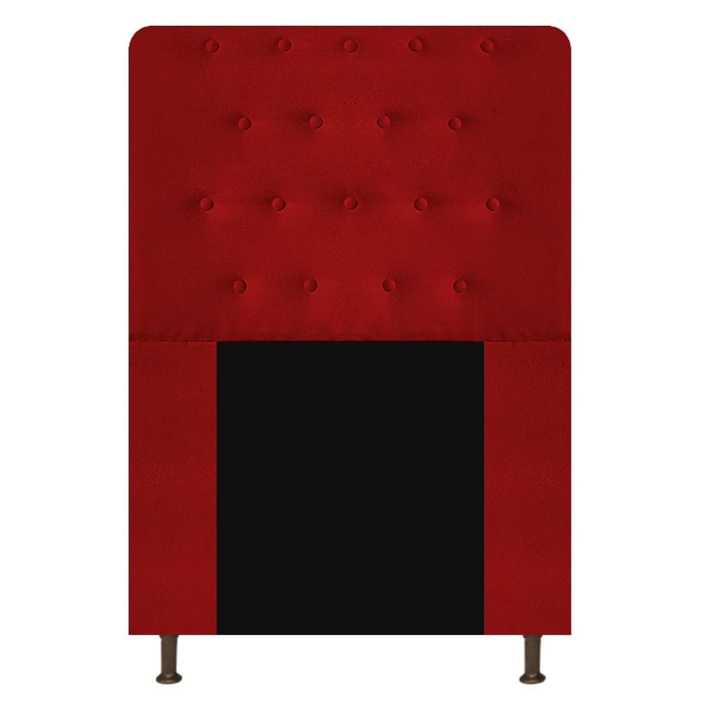 Cabeceira Estofada Brenda 90 cm Solteiro Com Botonê  Suede Vermelho - Doce Sonho Móveis