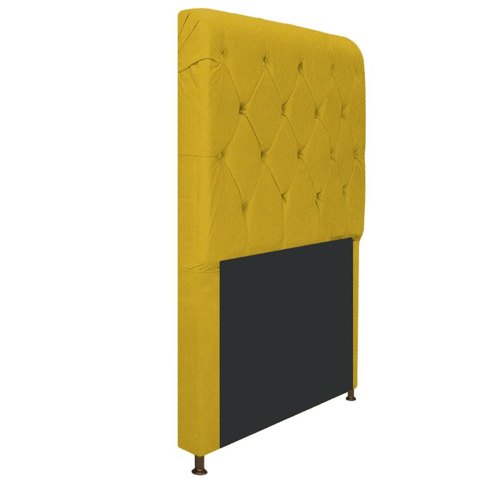 Cabeceira Estofada Cristal 100 cm Solteiro Com Capitonê Suede Amarelo - Doce Sonho Móveis