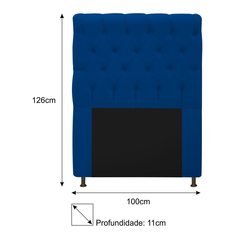 Cabeceira Estofada Cristal 100 cm Solteiro Com Capitonê Suede Azul Marinho - Doce Sonho Móveis