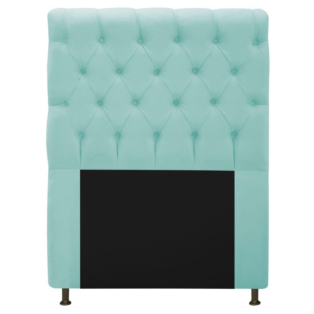 Cabeceira Estofada Cristal 100 cm Solteiro Com Capitonê Suede Azul Tiffany - Doce Sonho Móveis