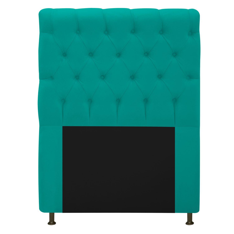 Cabeceira Estofada Cristal 100 cm Solteiro Com Capitonê Suede Azul Turquesa - Doce Sonho Móveis