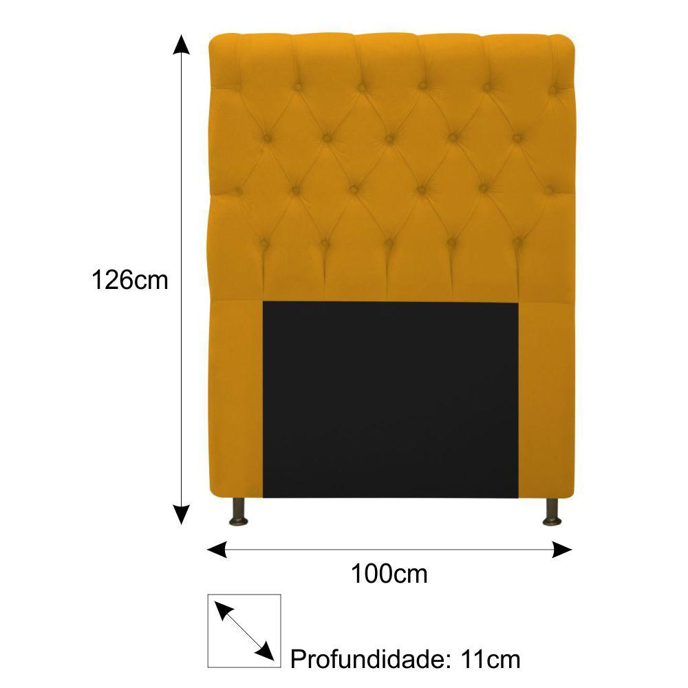 Cabeceira Estofada Cristal 100 cm Solteiro Com Capitonê Suede Mostarda - Doce Sonho Móveis