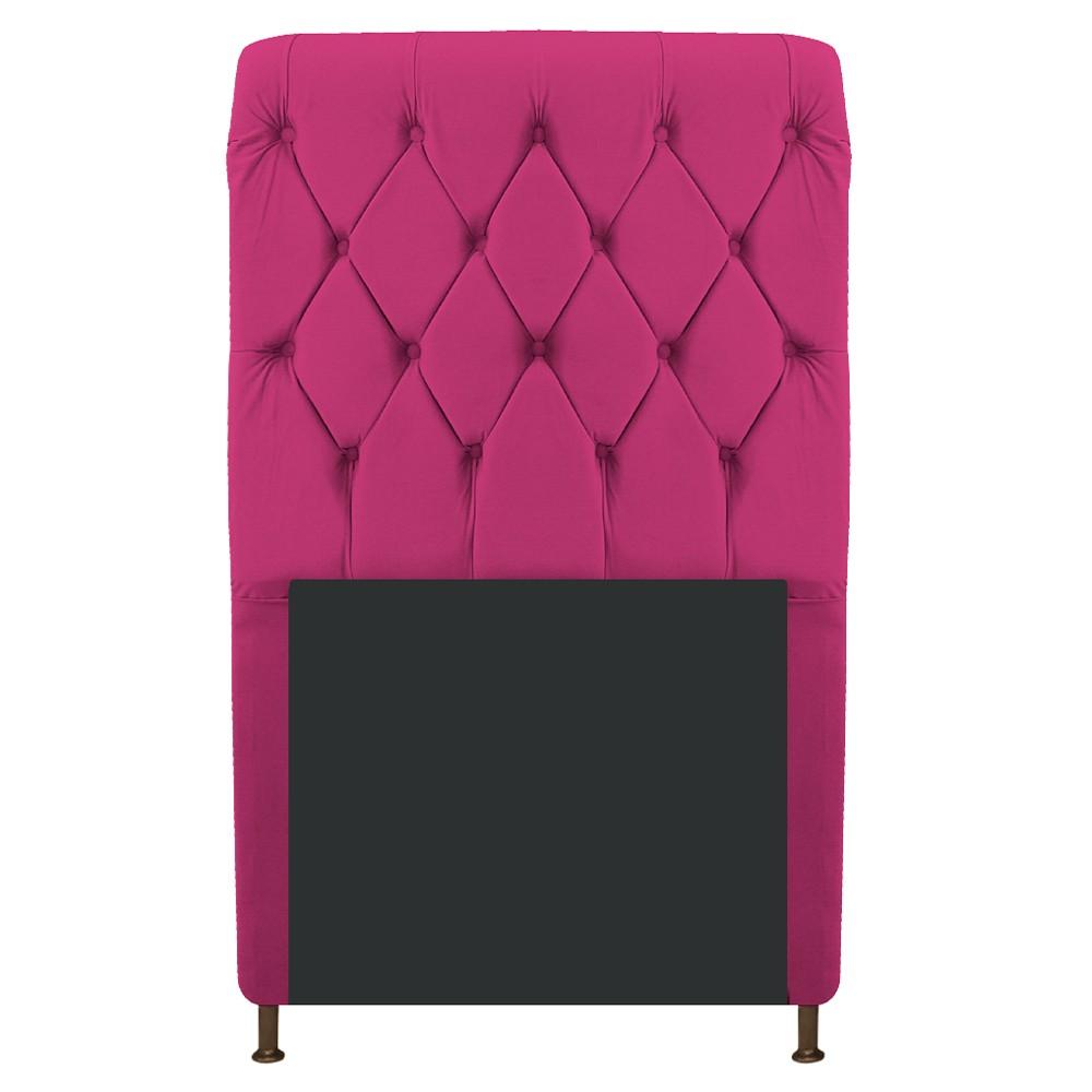 Cabeceira Estofada Cristal 100 cm Solteiro Com Capitonê Suede Pink - Doce Sonho Móveis