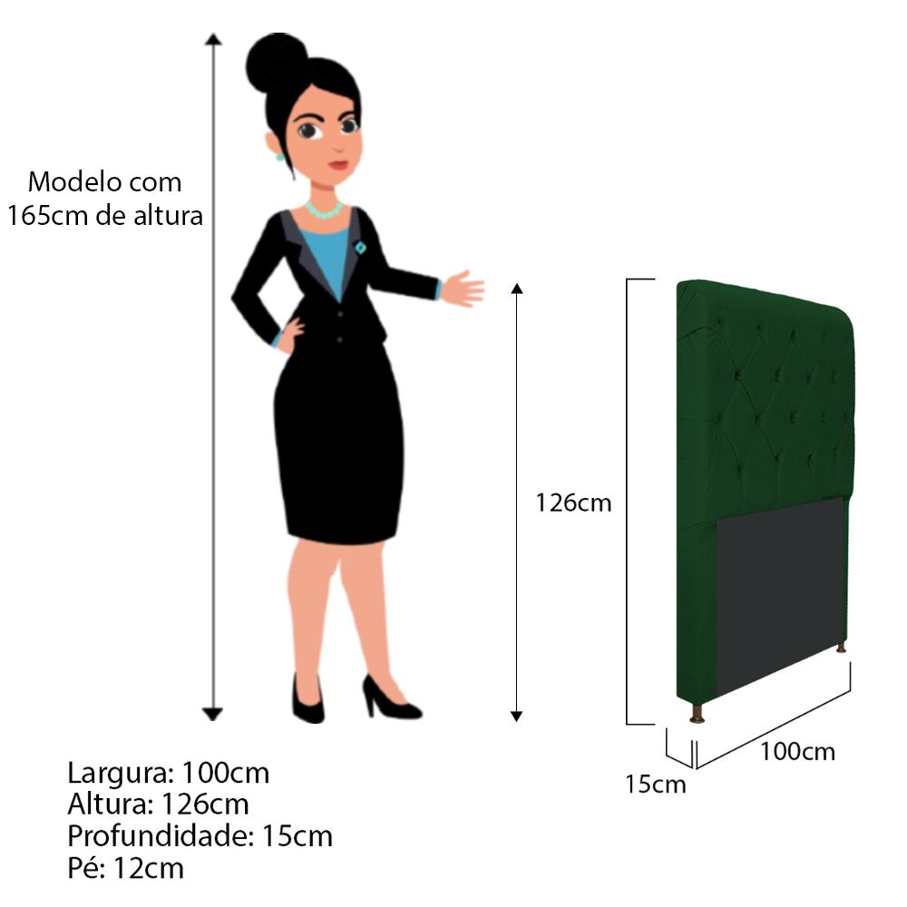 Cabeceira Estofada Cristal 100 cm Solteiro Com Capitonê Suede Verde - Doce Sonho Móveis