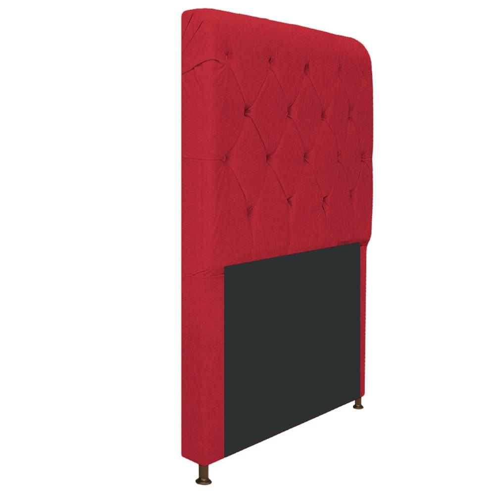 Cabeceira Estofada Cristal 100 cm Solteiro Com Capitonê Suede Vermelho- Doce Sonho Móveis