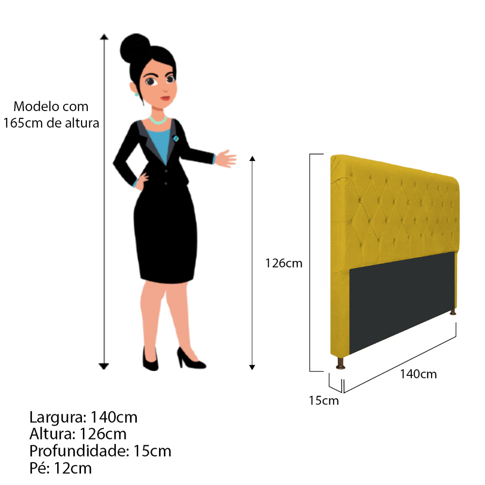 Cabeceira Estofada Cristal 140 cm Casal Com Capitonê  Suede Amarelo - Doce Sonho Móveis