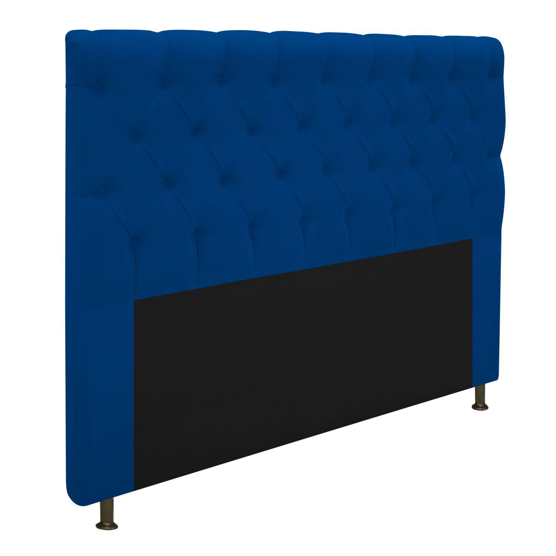 Cabeceira Estofada Cristal 140 cm Casal Com Capitonê  Suede Azul Marinho - Doce Sonho Móveis