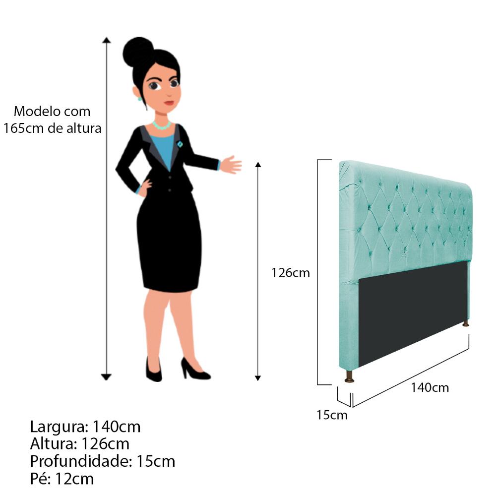 Cabeceira Estofada Cristal 140 cm Casal Com Capitonê  Suede Azul Tiffany - Doce Sonho Móveis