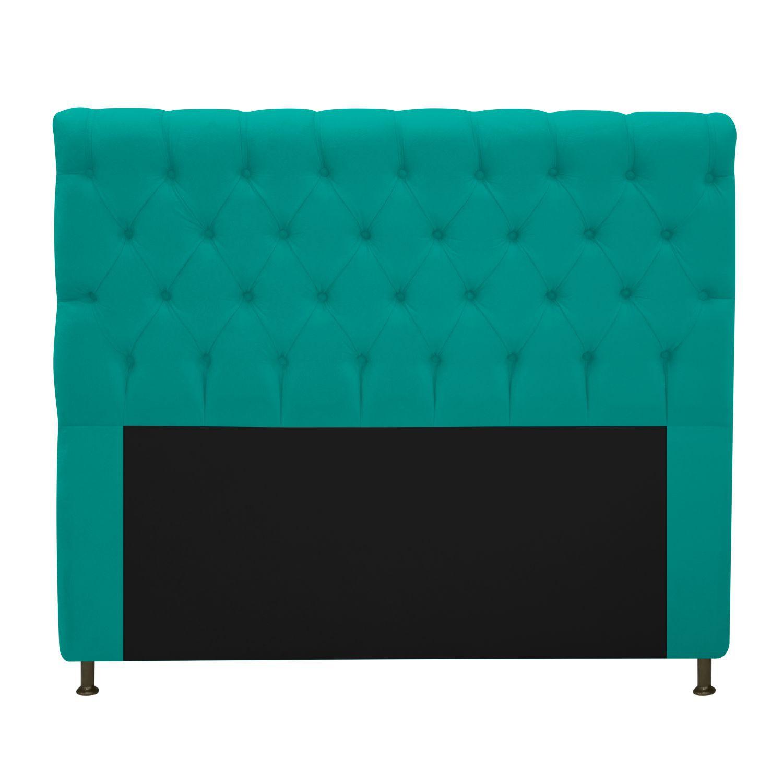 Cabeceira Estofada Cristal 140 cm Casal Com Capitonê  Suede Azul Turquesa - Doce Sonho Móveis