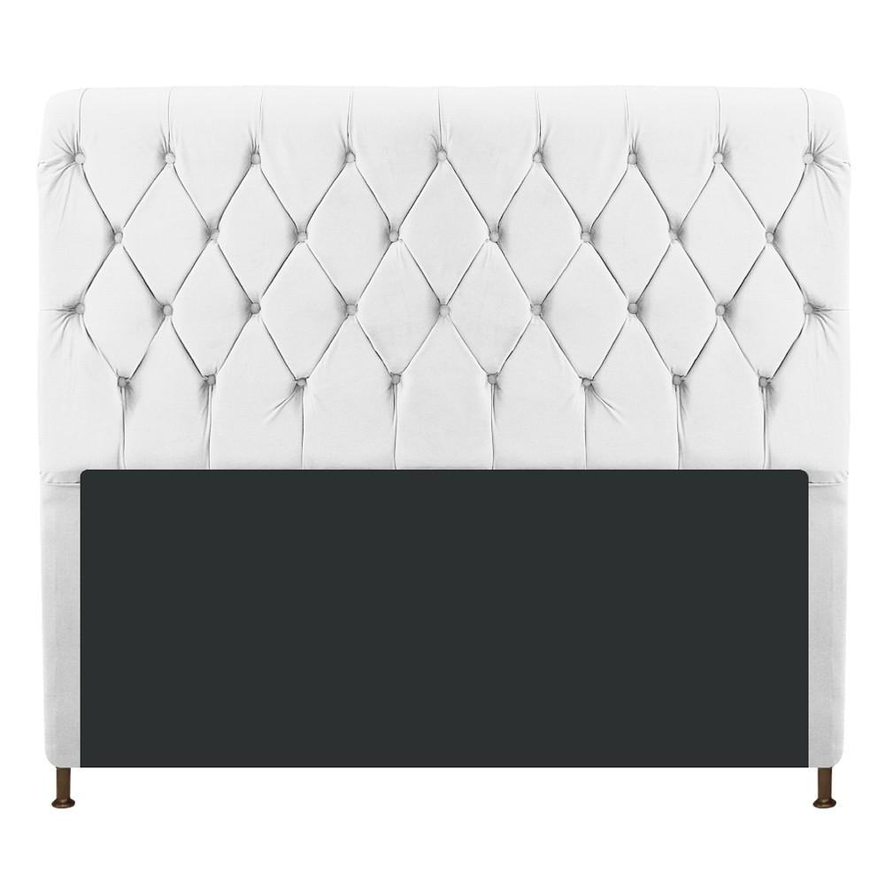 Cabeceira Estofada Cristal 140 cm Casal Com Capitonê  Suede Branco - Doce Sonho Móveis