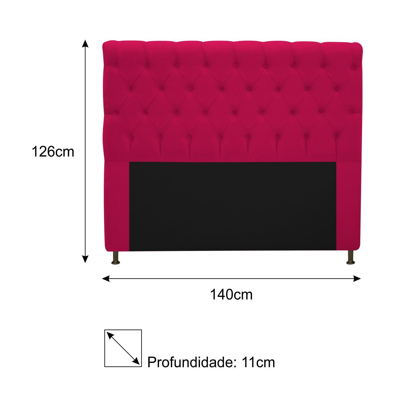 Cabeceira Estofada Cristal 140 cm Casal Com Capitonê  Suede Pink - Doce Sonho Móveis