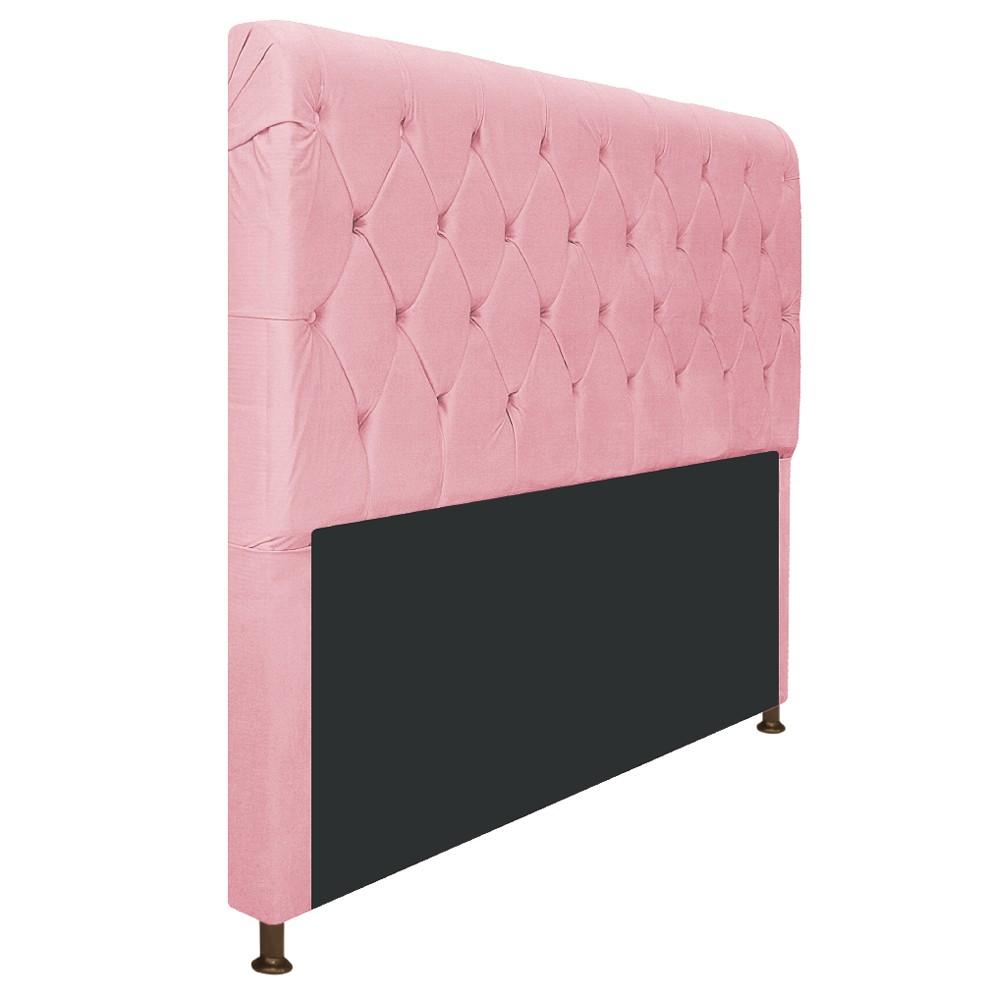 Cabeceira Estofada Cristal 140 cm Casal Com Capitonê  Suede Rosa Bebê - Doce Sonho Móveis