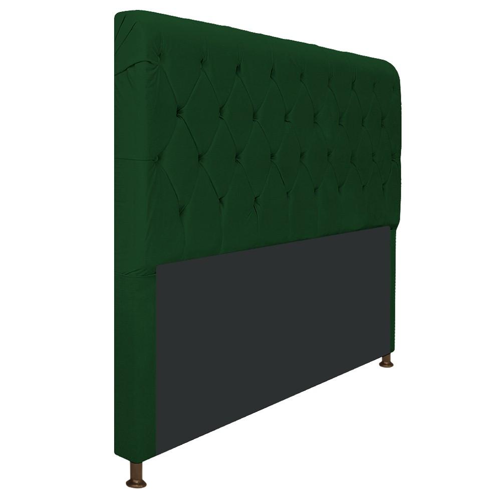 Cabeceira Estofada Cristal 140 cm Casal Com Capitonê  Suede Verde - Doce Sonho Móveis