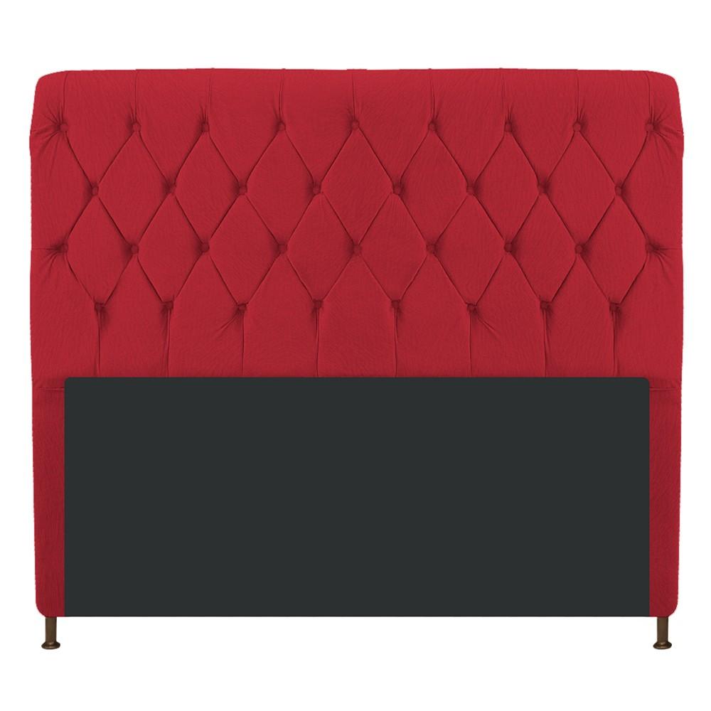 Cabeceira Estofada Cristal 140 cm Casal Com Capitonê  Suede Vermelho- Doce Sonho Móveis