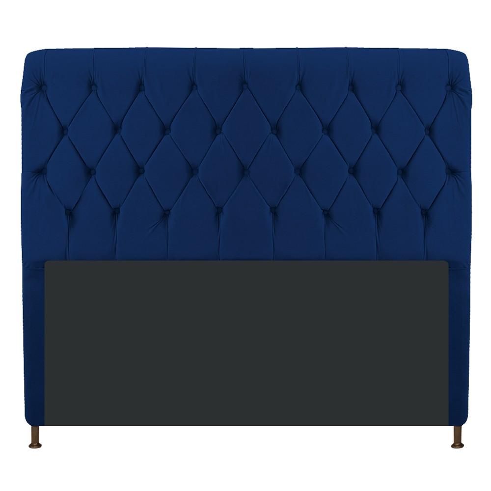 Cabeceira Estofada Cristal 160 cm Queen Size Com Capitonê Suede Azul Marinho - Doce Sonho Móveis