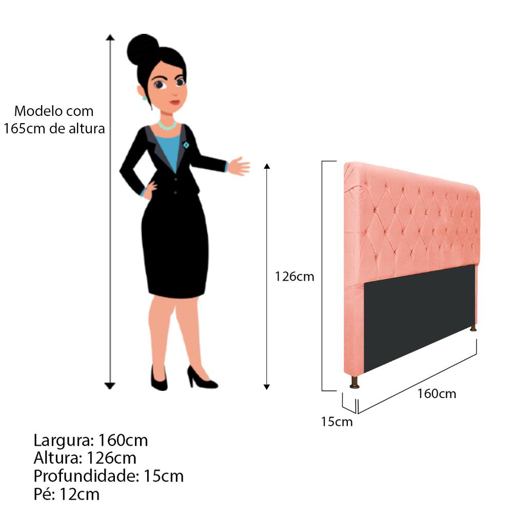 Cabeceira Estofada Cristal 160 cm Queen Size Com Capitonê Suede Coral - Doce Sonho Móveis