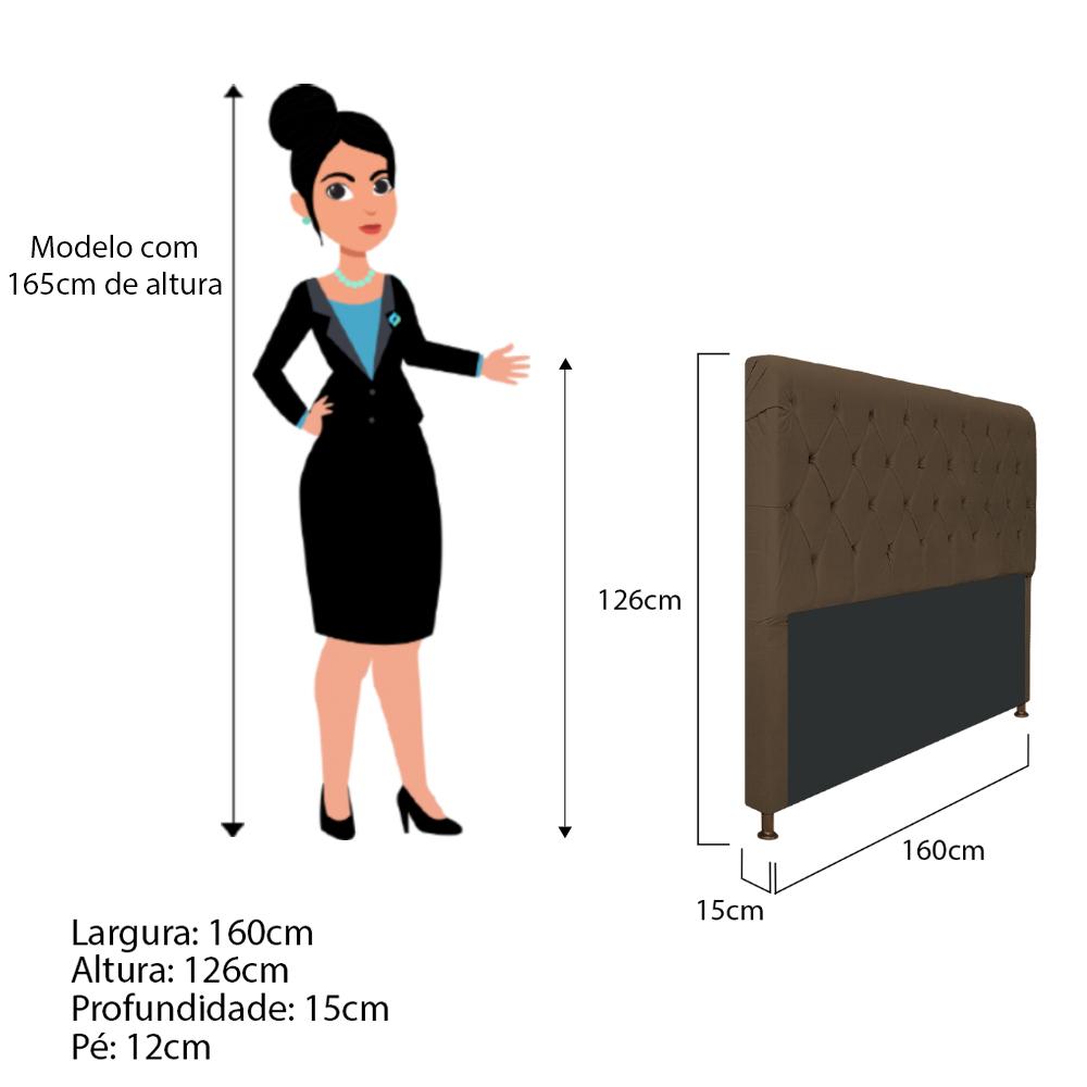 Cabeceira Estofada Cristal 160 cm Queen Size Com Capitonê Suede Marrom - Doce Sonho Móveis