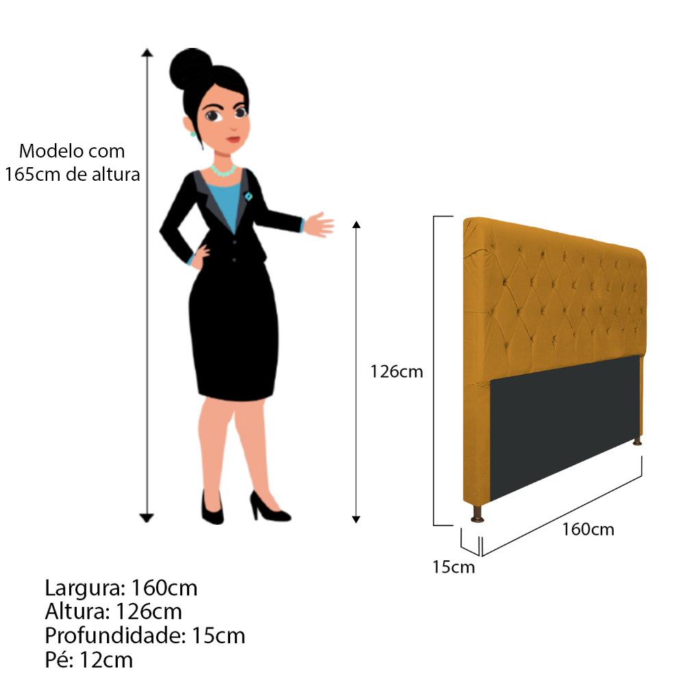 Cabeceira Estofada Cristal 160 cm Queen Size Com Capitonê Suede Mostarda - Doce Sonho Móveis