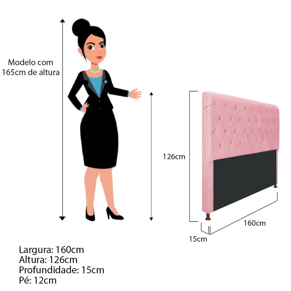 Cabeceira Estofada Cristal 160 cm Queen Size Com Capitonê Suede Rosa Bebê - Doce Sonho Móveis