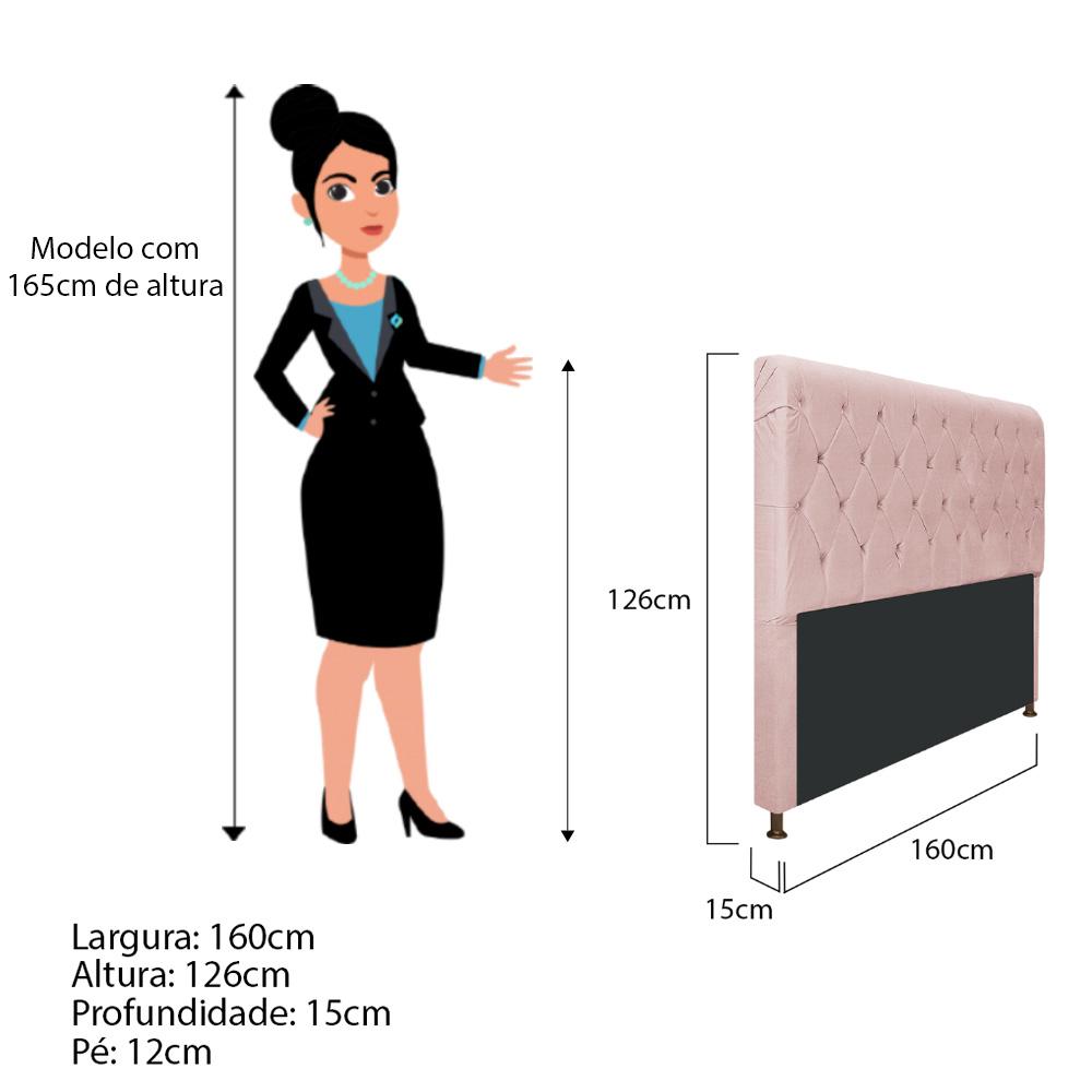 Cabeceira Estofada Cristal 160 cm Queen Size Com Capitonê Suede Rosê - Doce Sonho Móveis