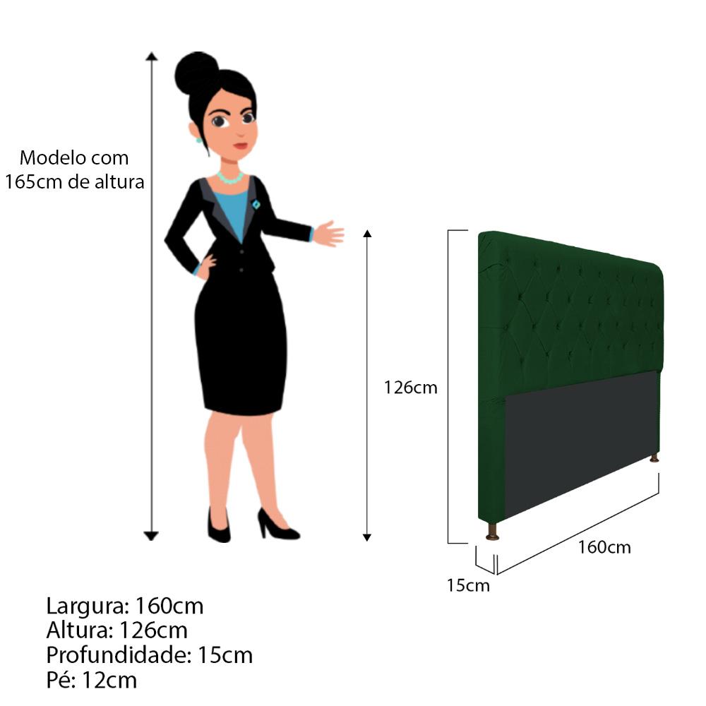 Cabeceira Estofada Cristal 160 cm Queen Size Com Capitonê Suede Verde - Doce Sonho Móveis