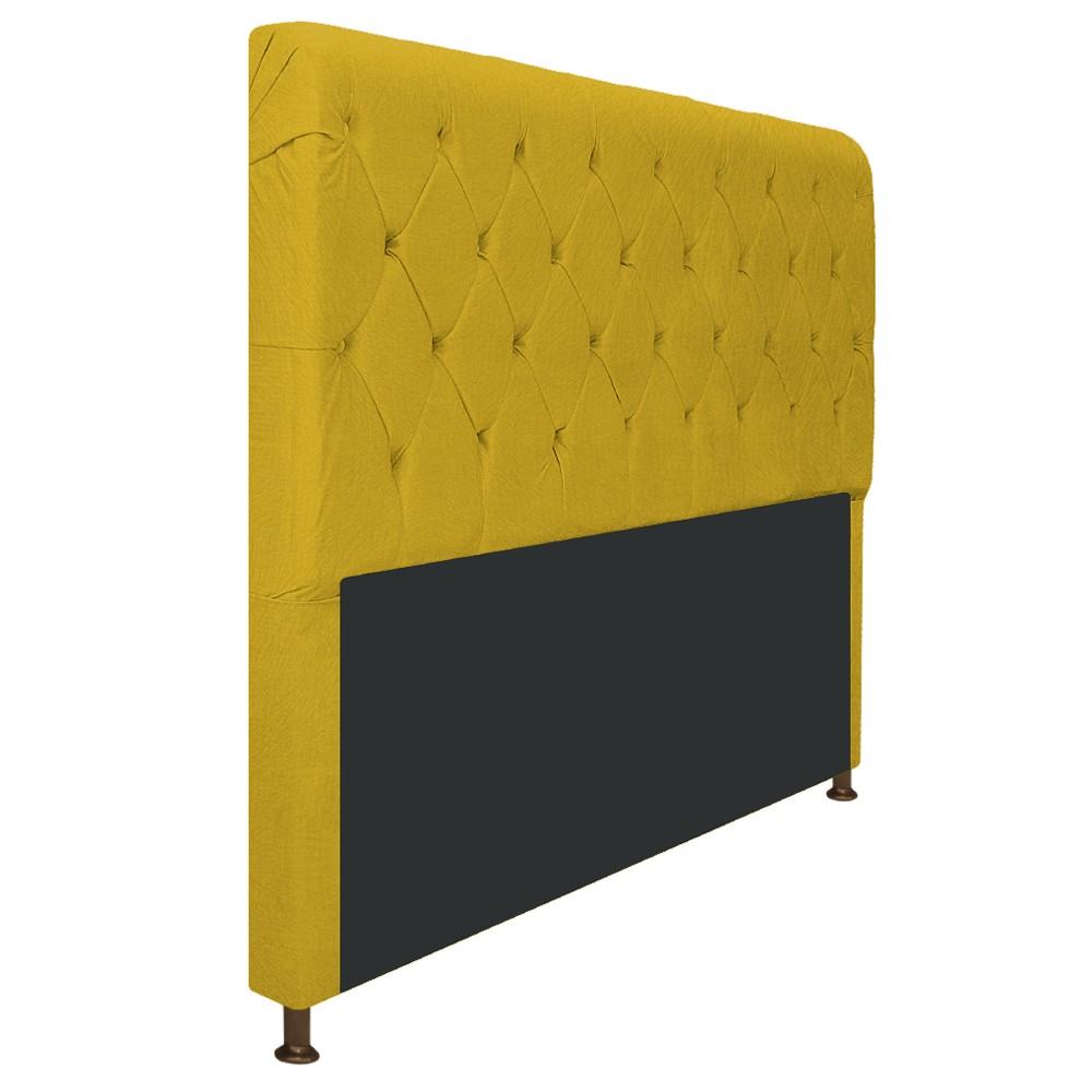 Cabeceira Estofada Cristal 195 cm King Size Com Capitonê Suede Amarelo - Doce Sonho Móveis