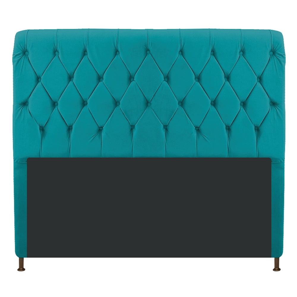 Cabeceira Estofada Cristal 195 cm King Size Com Capitonê Suede Azul Turquesa - Doce Sonho Móveis