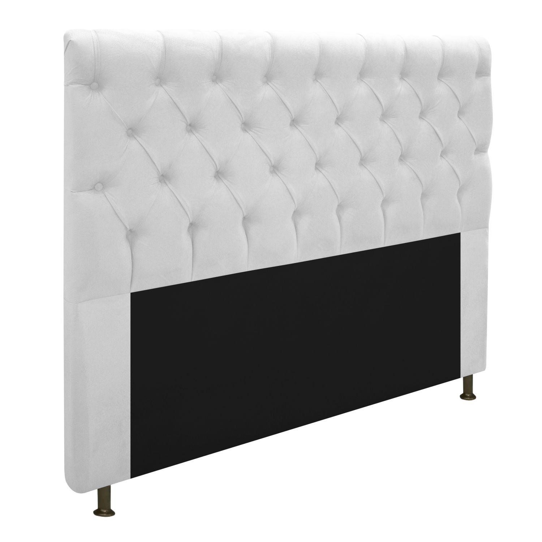 Cabeceira Estofada Cristal 195 cm King Size Com Capitonê Suede Branco - Doce Sonho Móveis