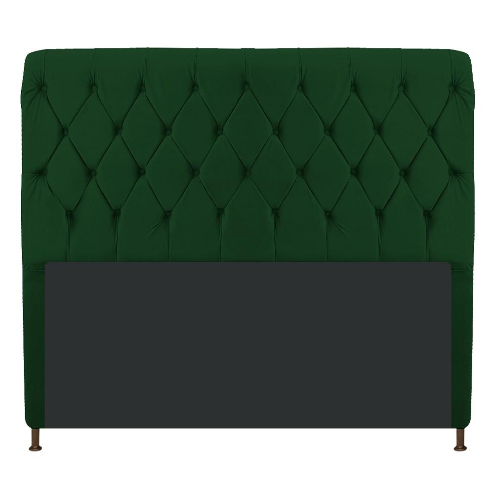 Cabeceira Estofada Cristal 195 cm King Size Com Capitonê Suede Verde - Doce Sonho Móveis