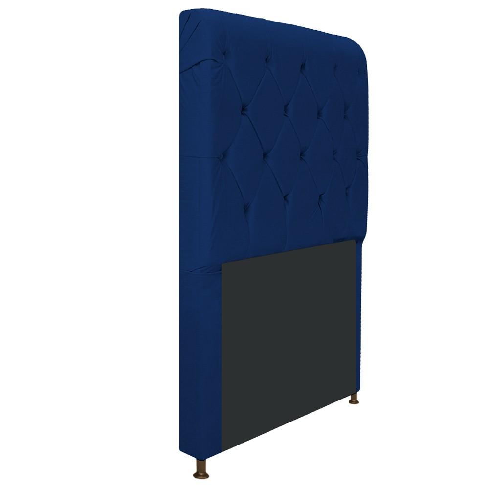 Cabeceira Estofada Cristal 90 cm Solteiro Com Capitonê  Suede Azul Marinho - Doce Sonho Móveis