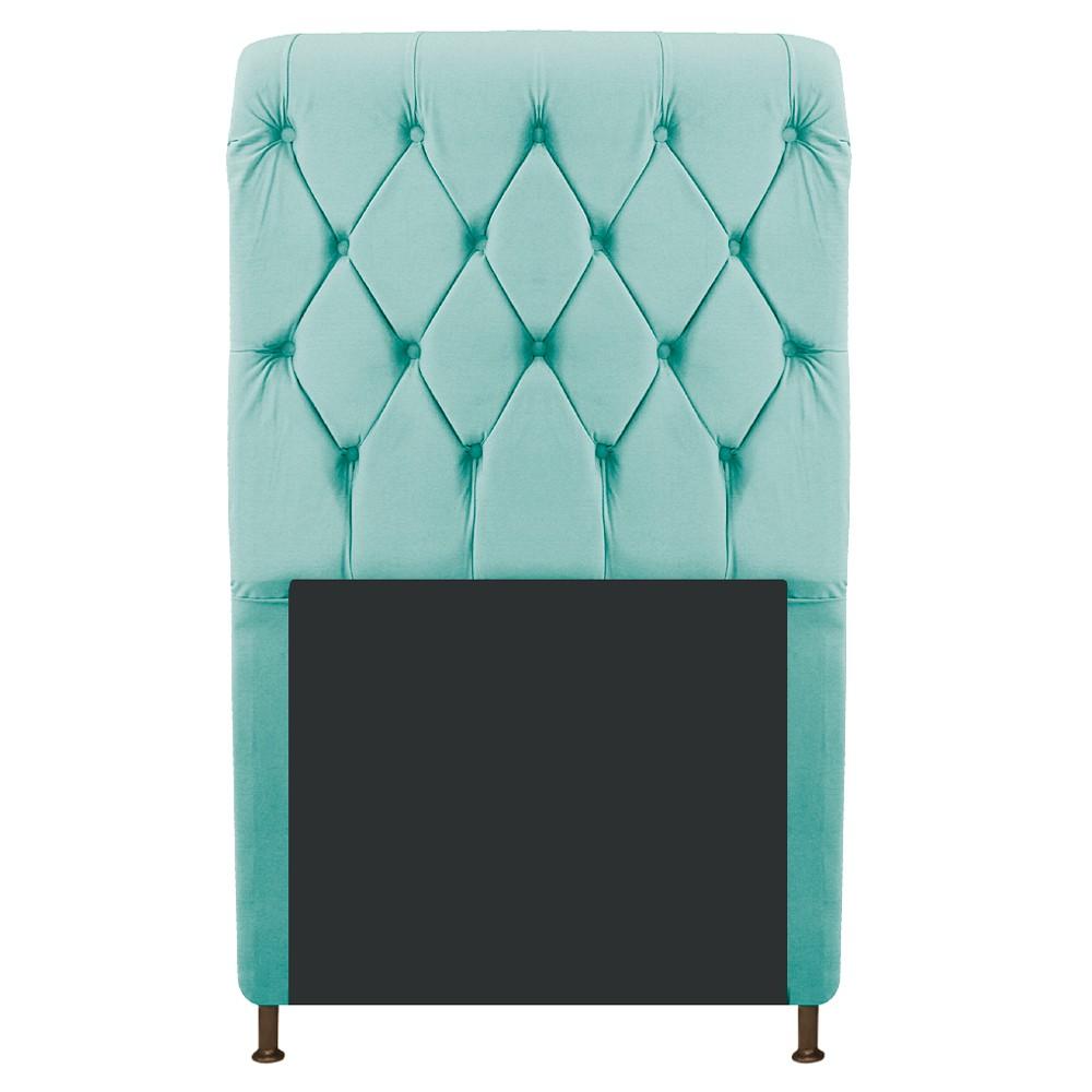 Cabeceira Estofada Cristal 90 cm Solteiro Com Capitonê  Suede Azul Tiffany - Doce Sonho Móveis