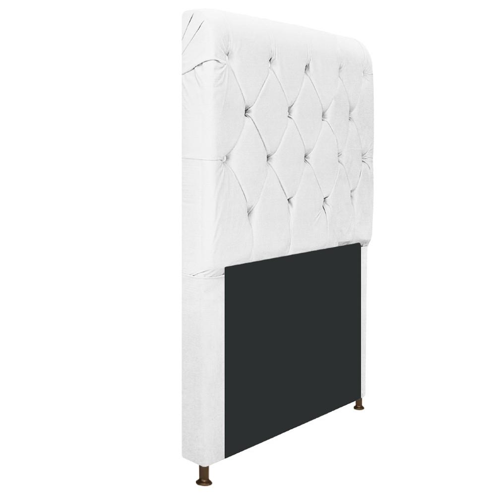 Cabeceira Estofada Cristal 90 cm Solteiro Com Capitonê  Suede Branco - Doce Sonho Móveis