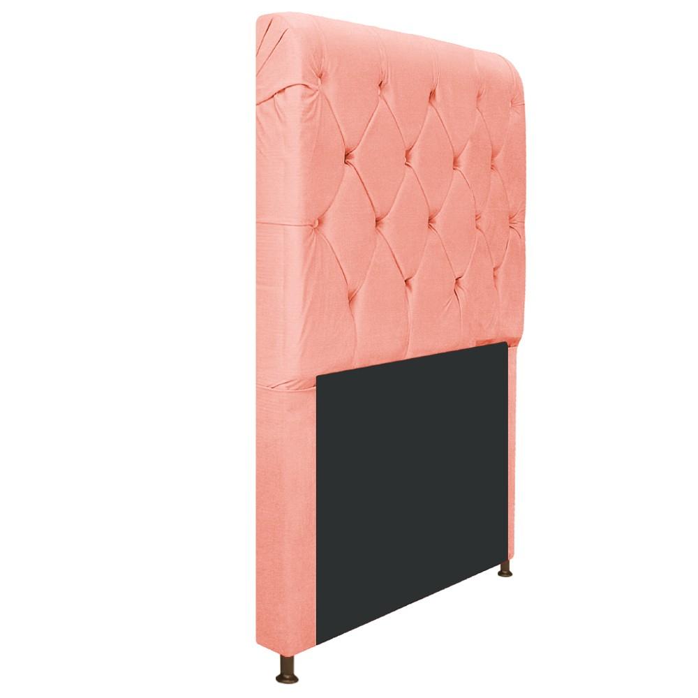 Cabeceira Estofada Cristal 90 cm Solteiro Com Capitonê  Suede Coral - Doce Sonho Móveis