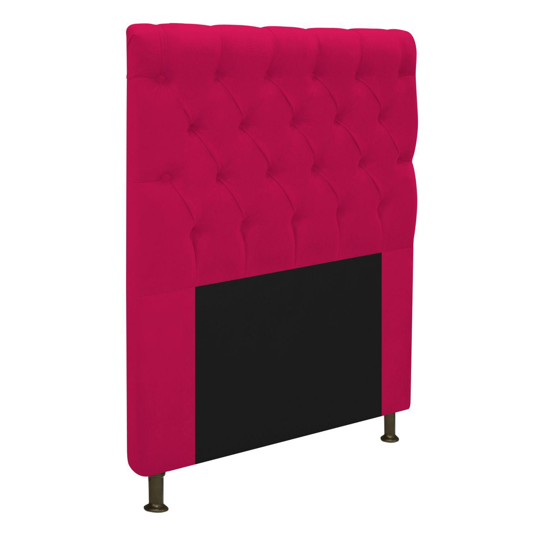 Cabeceira Estofada Cristal 90 cm Solteiro Com Capitonê  Suede Pink - Doce Sonho Móveis