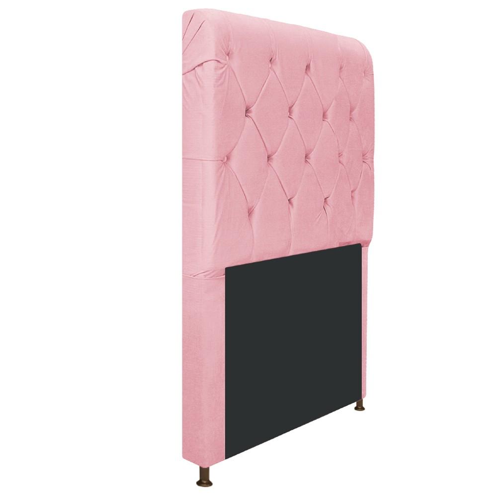 Cabeceira Estofada Cristal 90 cm Solteiro Com Capitonê  Suede Rosa Bebê - Doce Sonho Móveis