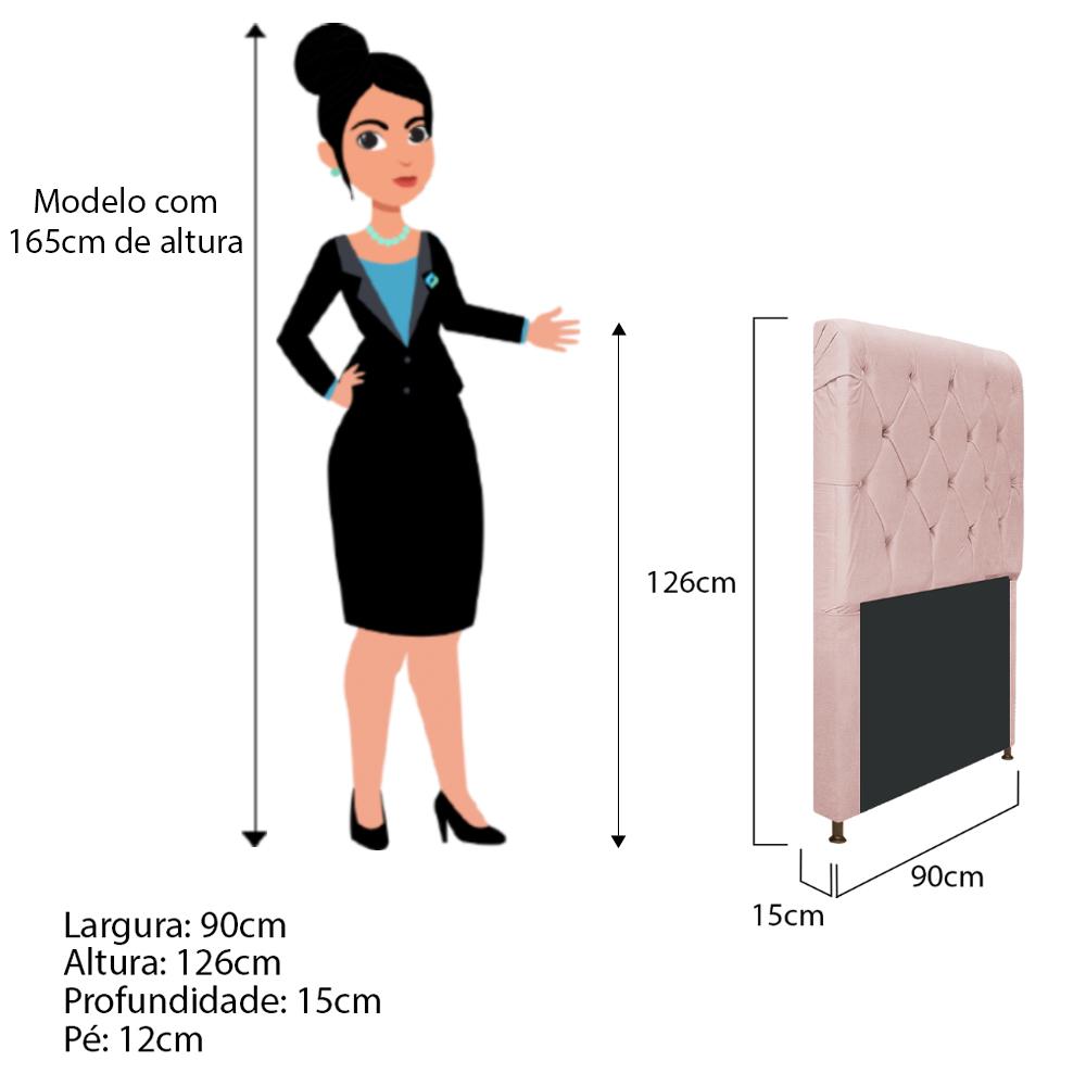 Cabeceira Estofada Cristal 90 cm Solteiro Com Capitonê  Suede Rosê - Doce Sonho Móveis