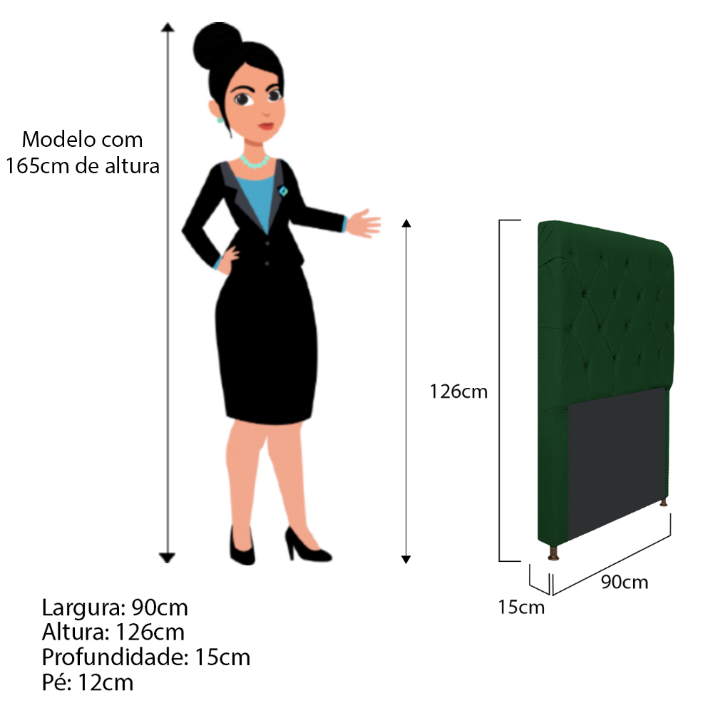 Cabeceira Estofada Cristal 90 cm Solteiro Com Capitonê  Suede Verde - Doce Sonho Móveis