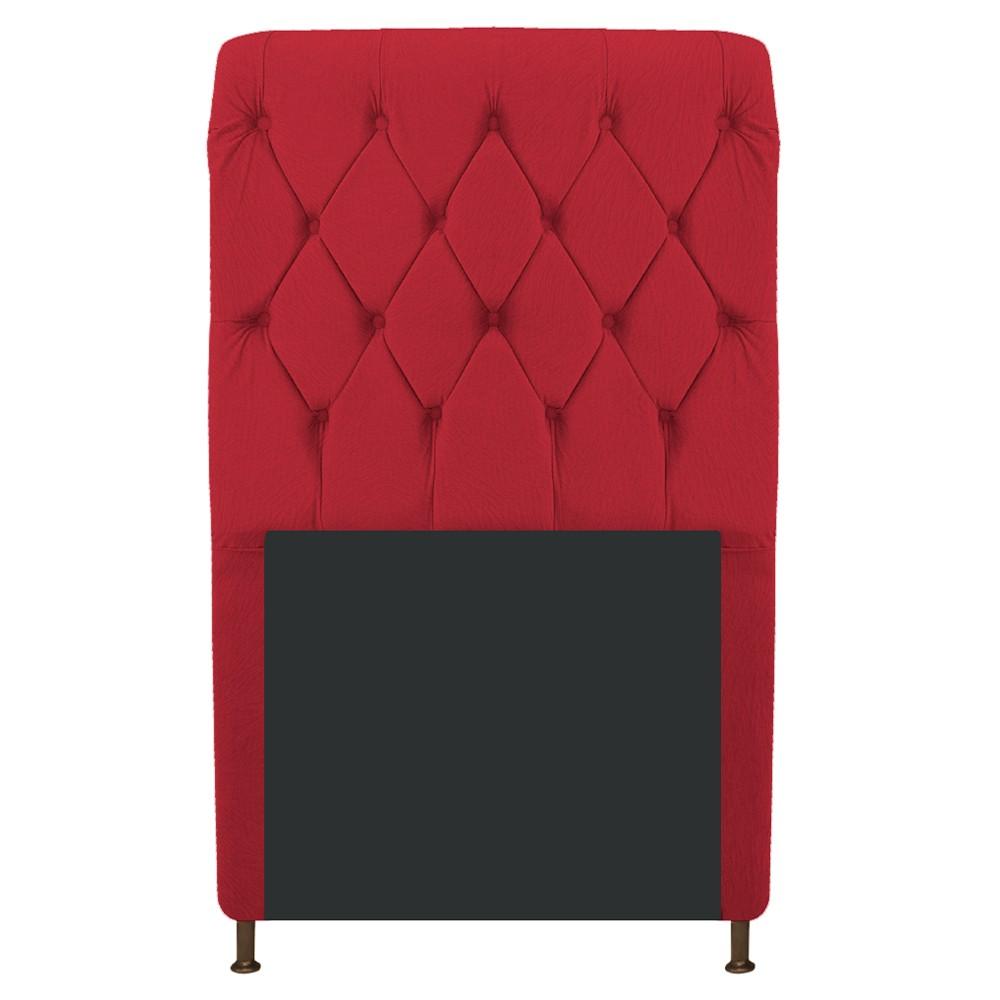 Cabeceira Estofada Cristal 90 cm Solteiro Com Capitonê  Suede Vermelho- Doce Sonho Móveis