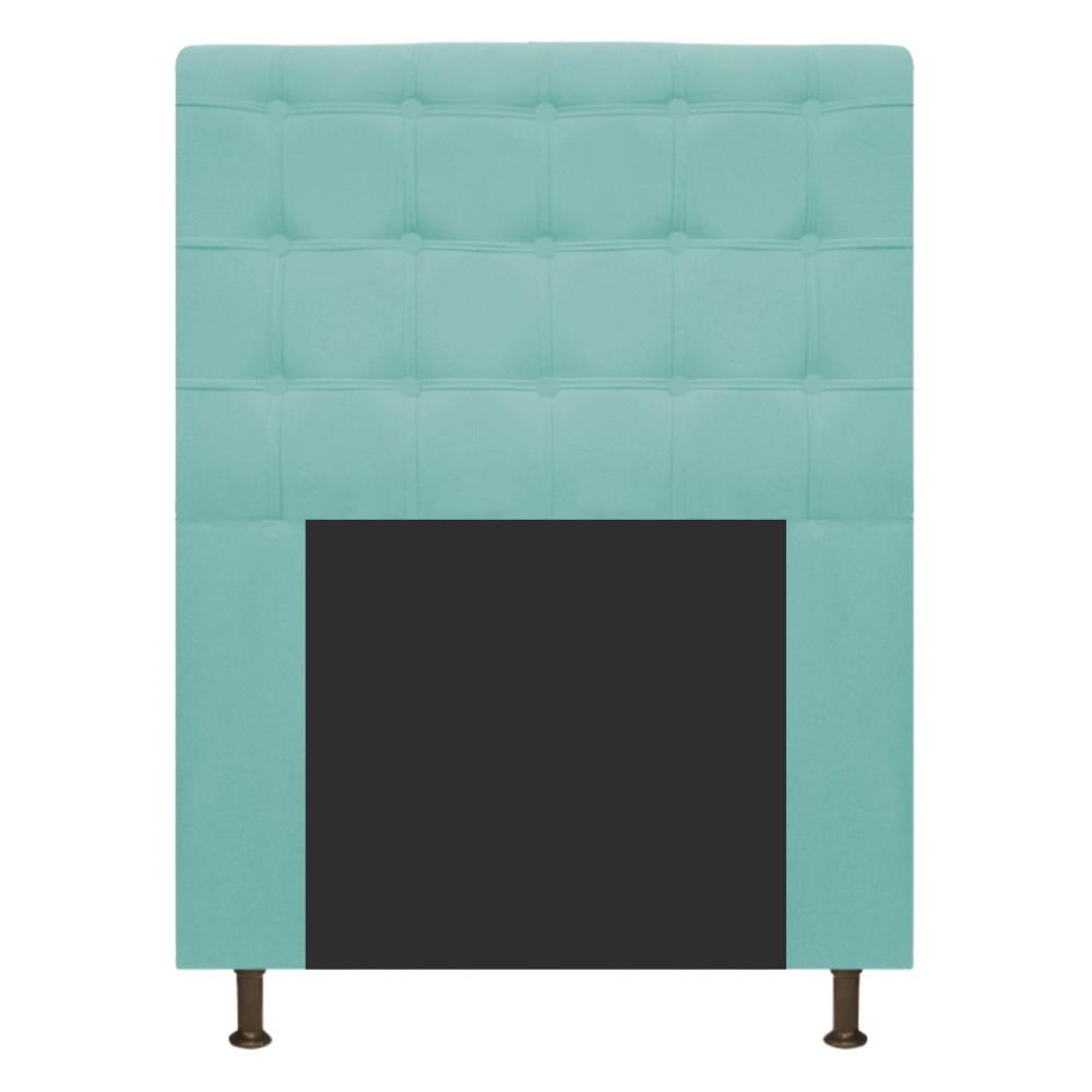 Cabeceira Estofada Dama 100 cm Solteiro Com Botonê Suede Azul Tiffany - Doce Sonho Móveis