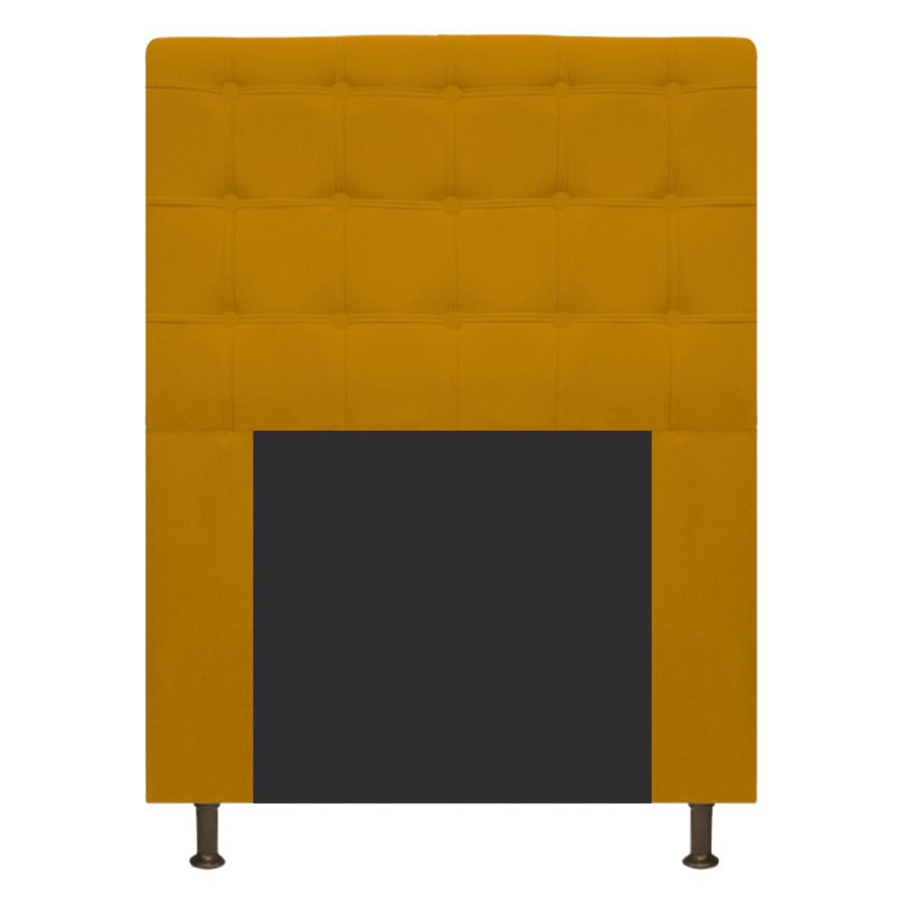 Cabeceira Estofada Dama 100 cm Solteiro Com Botonê Suede Mostarda - Doce Sonho Móveis