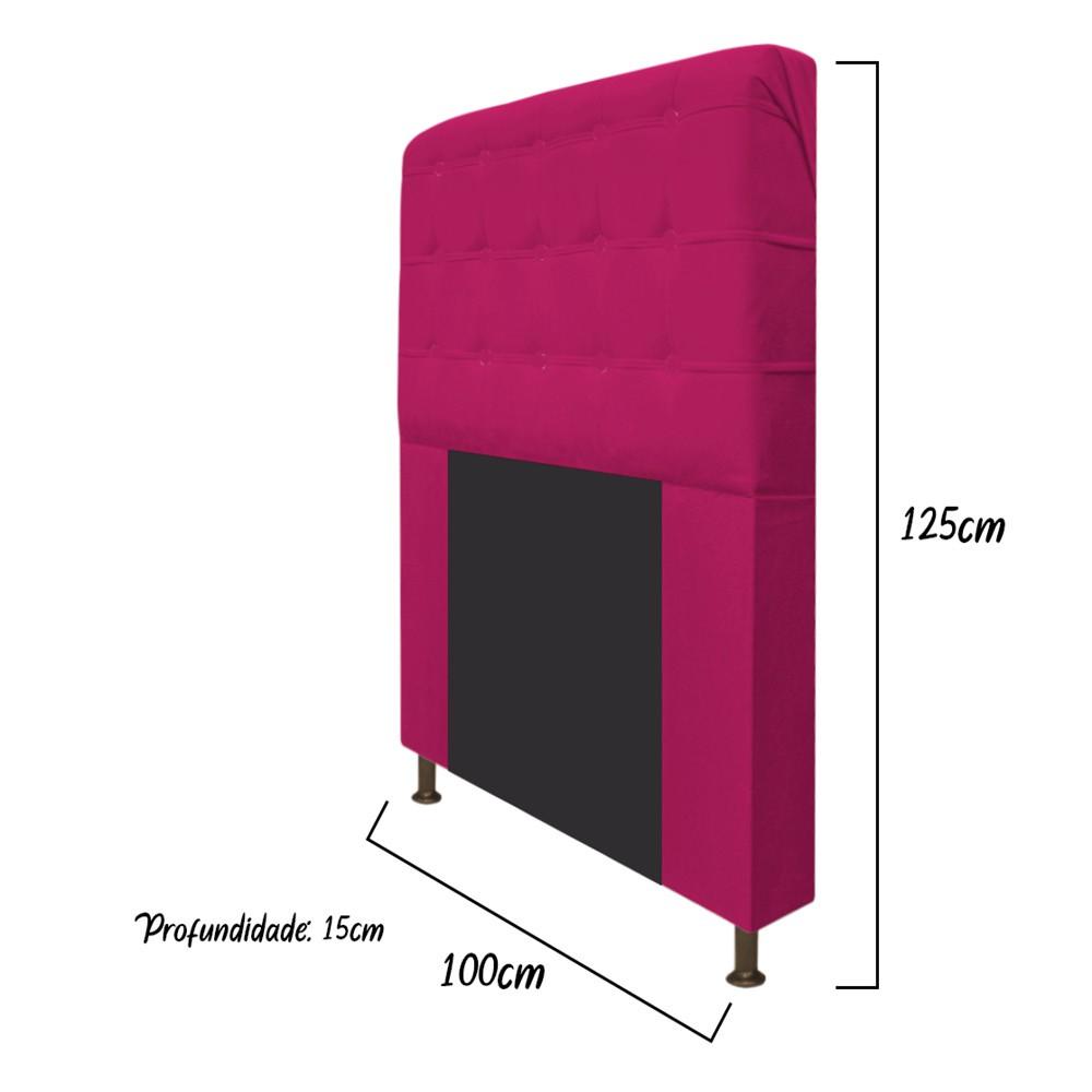 Cabeceira Estofada Dama 100 cm Solteiro Com Botonê Suede Pink - Doce Sonho Móveis