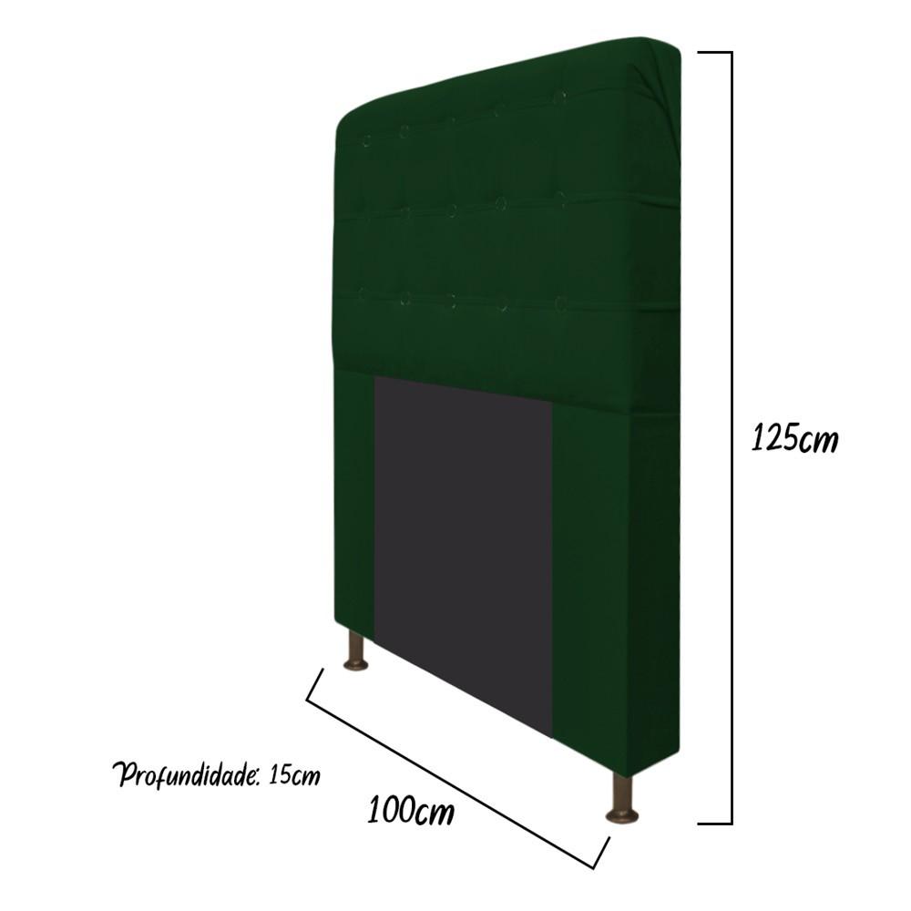 Cabeceira Estofada Dama 100 cm Solteiro Com Botonê Suede Verde - Doce Sonho Móveis