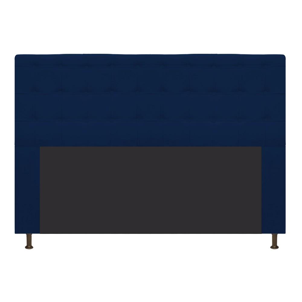 Cabeceira Estofada Dama 140 cm Casal Com Botonê  Suede Azul Marinho - Doce Sonho Móveis
