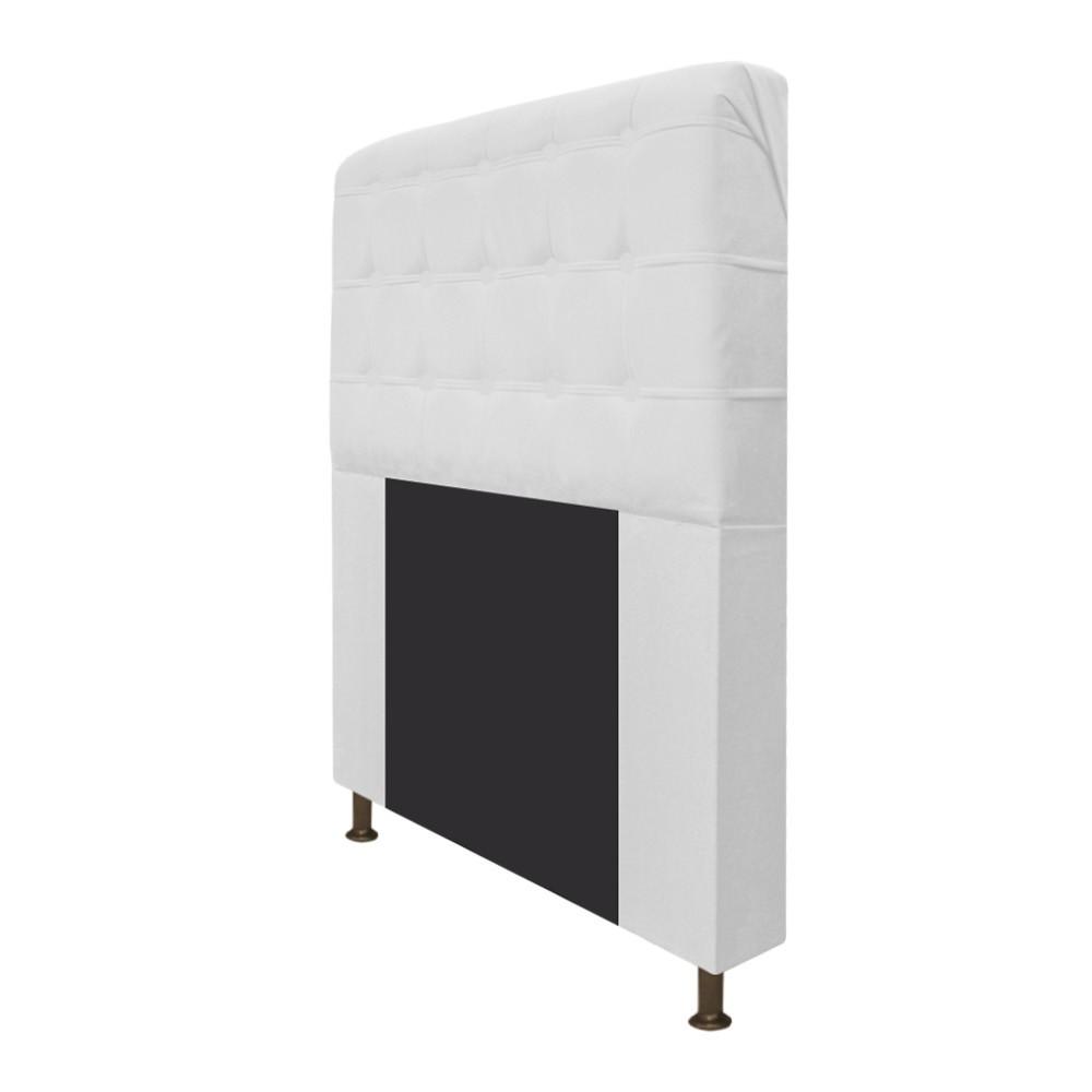 Cabeceira Estofada Dama 140 cm Casal Com Botonê  Suede Branco - Doce Sonho Móveis