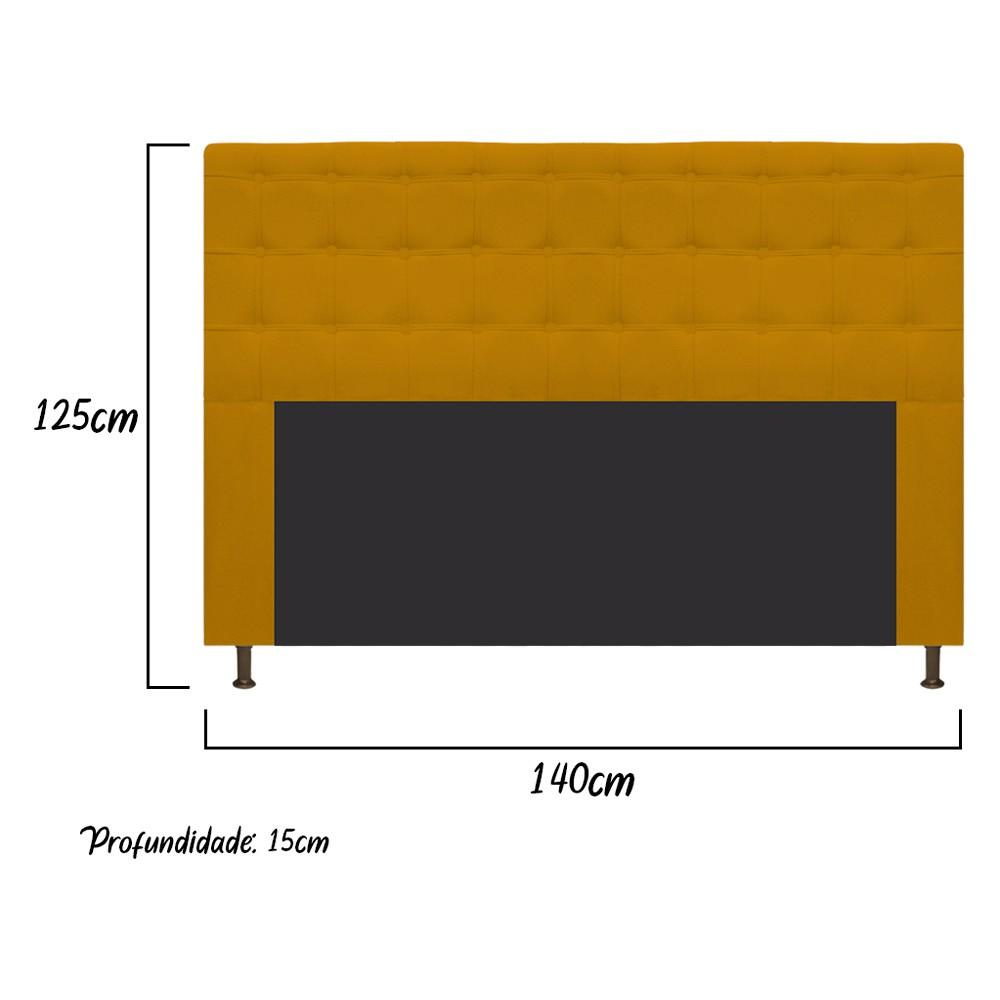 Cabeceira Estofada Dama 140 cm Casal Com Botonê  Suede Mostarda - Doce Sonho Móveis