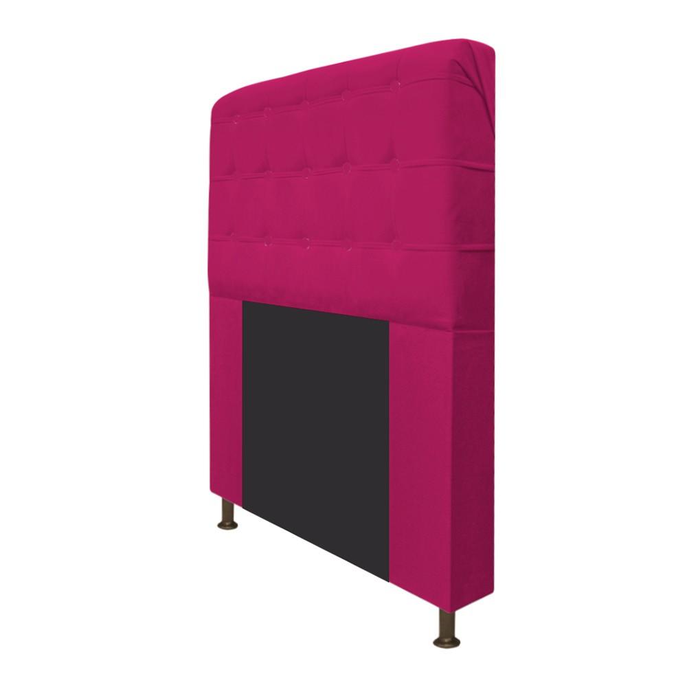 Cabeceira Estofada Dama 140 cm Casal Com Botonê  Suede Pink - Doce Sonho Móveis